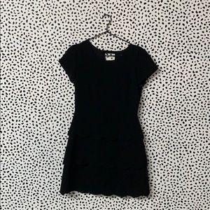 Club Monaco Scalloped Black Dress